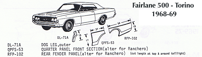 Classic Sheet Metal  Inc  - 1968-69 Fairlane 500