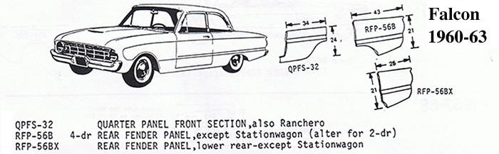 Qpfs 32 L 1960 63 Ford Falcon Quarter Panel Front Section L Ford Falcon 60 63