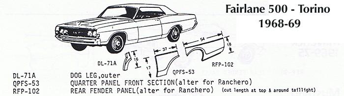 Ford Fairlane Torino Ranchero Front Quarter Panel Right 1968-69 Schott
